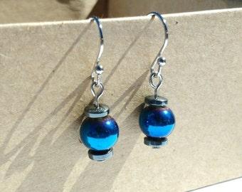 ON SALE blue dangle earrings with stainless steel ear hooks
