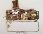 Vintage Circuit Board and Copper Wire Antenna From Telephone Base - Retro Cyber Punk - Steampunk - Techno Geek