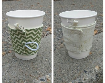 Reusable Coffee Sleeve--Reversable, keychain