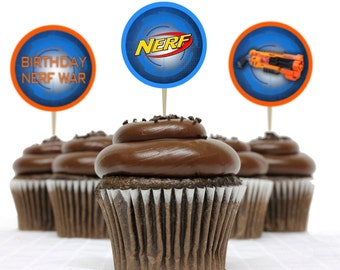Printable Nerf Party Circles - Instant download - Cupcake toppers - Tags