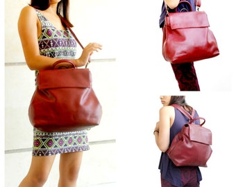 Sale 20% Shoulder bag leather , Leather crossbody bag in bordeaux , Leather convertible bag