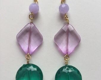 Purple & Green Long drop earrings, bead earrings, mermaid earrings, big earrings, gaudy earrings,