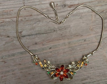 vintage rhinestone necklace, yellows and oranges