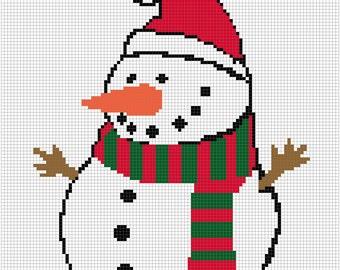 Crochet Graph Chart Pattern Baby Toddler Blanket Snowman Winter Graph Chart