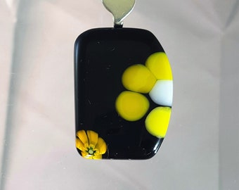 Yellow flower Fused glass pendant