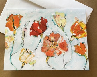 Red and Orange Poppies, Poppy Notecards