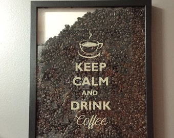 Keep Calm and Drink Coffee Vinyl Sticker Decal / Sticker - Shadow boxes and more