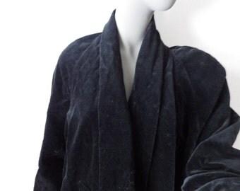 Vintage Black Velvet Opera Evening Coat Long Lined Cotton