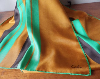 Vintage Echo Rectangular Silk Scarf Kelly Brown Stripes Rolled Hem