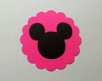 50 Hot pink 2 inch scalloped circles with Mickey head