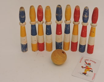 French Vintage Bowling Pins and Ball - 1930s Wooden Skittles - Vintage French Game Jeu De Quilles - Folk Art Bowling  Skittles