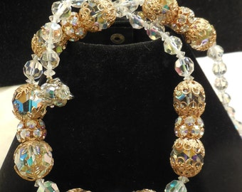 Vintage Chunky Swarovski AB Crystal and Clear Crystal Filigree Necklace
