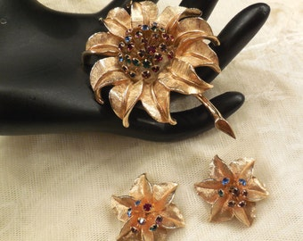 Vintage Judy Lee Rhinestone Tremble Brooch and Earrings