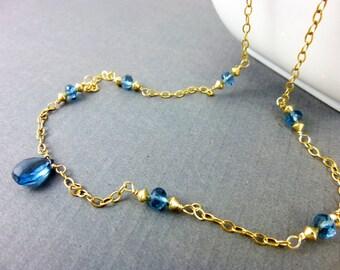 London Blue Topaz Throat Chakra Necklace, 14k Gold Fill, Fine Jewelry, Artisan Necklace, November Birthstone, Healing Energy Necklace