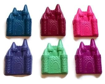 Princess castle crayons - set of 5, princess party favors, princess birthday party theme, customized party favors, princess birthday gift