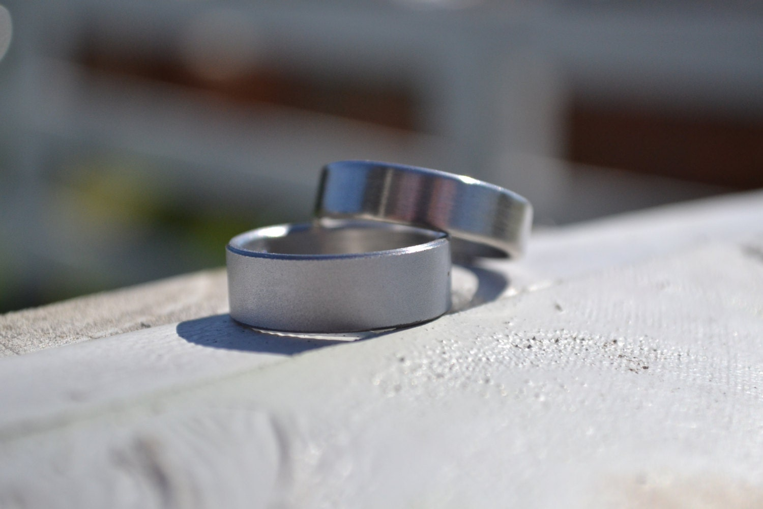 his and hers shotgun metal ring classic wedding band