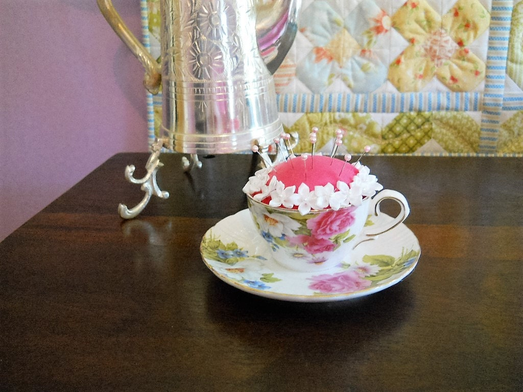 Pink roses china teacup pincushion gift for mom gift for Room decor under 20
