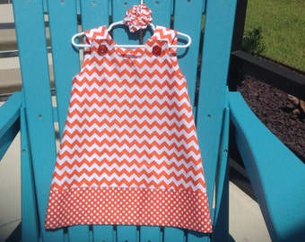 Chevron Dress, Orange & White, (baby, toddler, girl, infant, child) with matching hair accessory