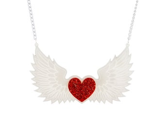 Winged Heart Necklace - Red Glitter and White Acrylic Angel Wing Necklace