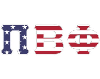 Pi Beta Phi USA Letter Sticker Outside Car/Computer - Exclusive