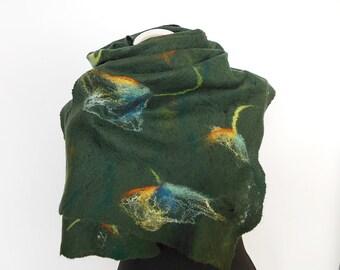 Cobweb Felted scarf ,hand  felted scarf , wool scarf,  merino wool scarf,, OOAK scarf, one of the kind, unique scarf ,