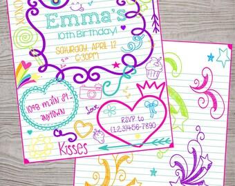 Doodle tween teen kid birthday  invitation. printable. digital download