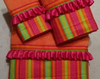 Bright Multi-Colored Striped Polka Dot Bath Towel Set ( READY TO SHIP )
