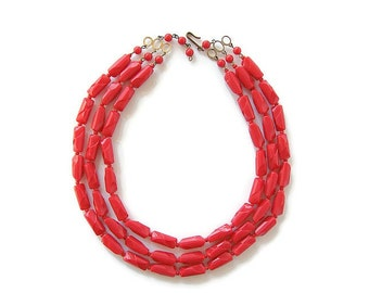 Multi strand necklace. Red bib necklace. Red christmas necklace. German necklace. Plastic carved necklace. red plastic beads. S hook clasp