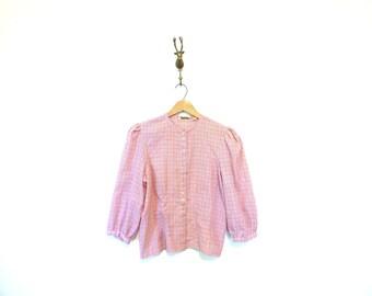 Plaid Cotton Button Up Blouse