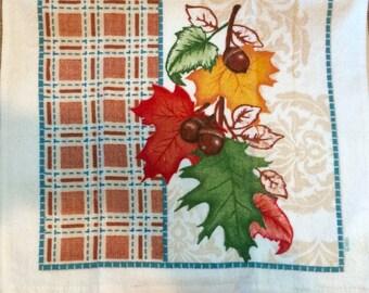 Fall Leaves and Acorns Crochet Top Towel  (H7)