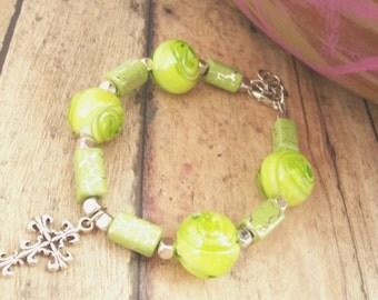 Green Cross Bracelet as Christian Jewelry With Silver Cross