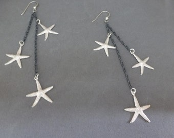 Starfish-ing Earrings - sterling silver shoulder dusters of oxidized textured chain draped with bright sea stars