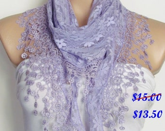 Lilac Lace Scarf With Fringe Shawl Scarf Bridal Accessories Bridesmaids Long Wedding Scarf Women Fashion Accessories Christmas Gift For Her