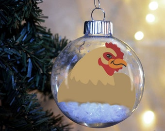 Chicken Christmas Ornament Personalized glass bulb animal gift hen