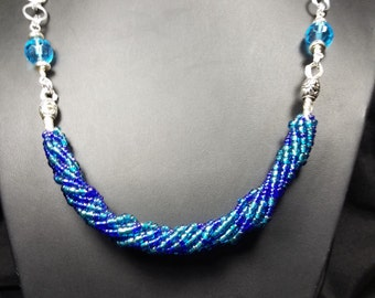 Aqua Wire Wrap Bead and Chainmaille Necklace