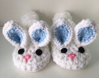 Baby- Child Bunny Slippers - white, baby slippers, bunny booties, crochet easter booties, baby easter shoes, baby boy bunnies, boy slippers