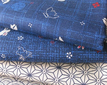 Four Traditional Japanese Fabric Fat Quarters