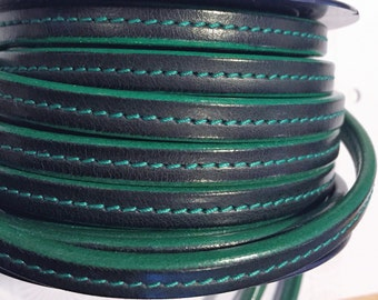 "Per 8"" Black- Green Stitched 10x4.5mm Half round leather Cord, ""mini regaliz"""