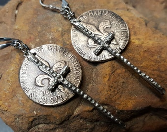 Sterling Silver Crosses with Bronze  fleur de lis