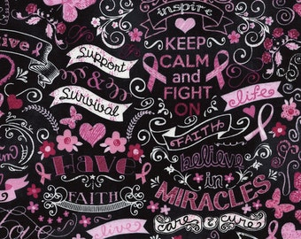 Cancer Awareness Cotton Fabric! 5 Options! [Choose Your Cut Size]