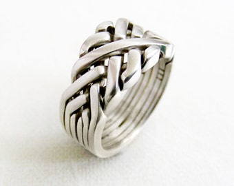 SIXTH SENSE - Unique Puzzle Rings by PuzzleRingMaker - Sterling Silver or Gold - 6 Bands