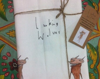 Linen Tea-Towel: Lurking Wolves