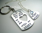 Daddy daughter keychain necklace Set - There is this girl she calls me daddy father's day