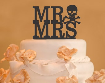 Mr. and Mrs. Wedding Cake Toppers - Skull and Bones Wedding Cake Topper - Goth wedding cake topper - pirate cake topper