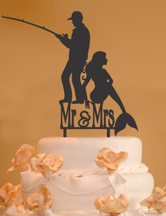 sailor and mermaid wedding cake topper fisherman mermaid wedding cake topper mr and mrs wedding 19618