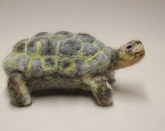 Needle felted Tortoise, felted animal, Miniature soft sculpture, Woodland