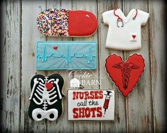 Nurse - Heath Care - Doctor - Physician - Nurses Call the Shots Decorated Sugar Cookies