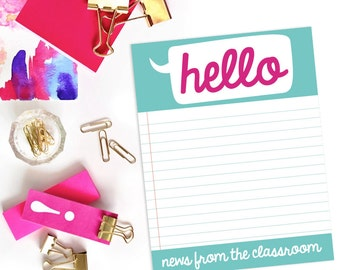 Teacher Notepad - Pink & Turquoise Notes Home from the Teacher