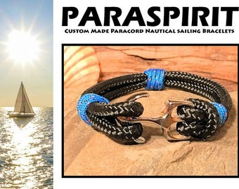 "Paraspirit ""EXCELSIOR"" Nautical Rope Bracelet with Silver Chrome Plated Anchor Clasp"