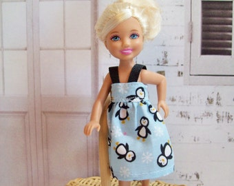 """Handmade Chelsea Doll Clothes - Blue, Black and White Penguin Dress, 5.5"""" Doll Clothes, Little Sister Clothes"""